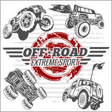 Vector emblem with off-road cars Royalty Free Stock Photo