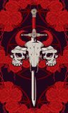 Emblem with skulls, sword, roses and pentagram. Vector emblem with a skull of a bull pierced by a sword and two human skulls with barbed wire on the background Stock Image