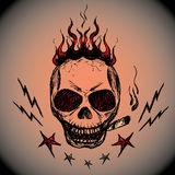 Vector emblem with a skull , hand drawing Stock Photography