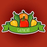 Vector emblem with tomato and peppers. Vegetable fresh sign illustration Royalty Free Stock Photography