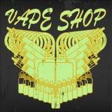 Vector emblem of vape shop. Vintage vector emblem of vape shop on blackboard background. Logo for vape shop. Illustration of electronic cigarette Stock Photography