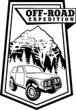 Vector emblem 4x4 vehicle off-road car and mountains. Vector emblem with 4x4 vehicle off-road car and mountains vector illustration