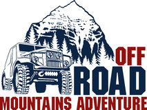 Free Vector Emblem With 4x4 Off-road Car And Mountains Forest Stock Photography - 78344272