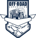 Vector emblem with 4x4 off-road car and mountains forest Royalty Free Stock Photo