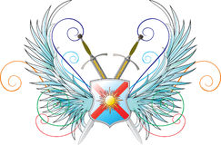 Vector emblems. Wings, shield and crossed swords Stock Images