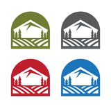 Vector emblems set with mountains, trees Stock Image