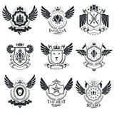 Vector emblems, vintage heraldic designs. Coat of Arms collectio. N, vector set Royalty Free Stock Image