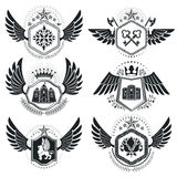 Vector emblems, vintage heraldic designs. Coat of Arms collectio. N, vector set Stock Images