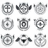 Vector emblems, vintage heraldic designs. Coat of Arms collectio Stock Image