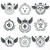 Vector emblems, vintage heraldic designs. Coat of Arms collectio Stock Images