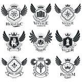 Vector emblems, vintage heraldic designs. Coat of Arms collectio. N, vector set Royalty Free Stock Photography