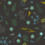 Vector Embroidery seamless pattern with Forest plants and Field wildflowers. Embroidery seamless pattern with Forest plants and Field wildflowers. Vector Stock Photography