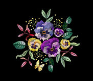 Free Vector Embroidery With Flowers Royalty Free Stock Photography - 94804777