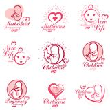 Vector embryo and newborn emblems collection. New life beginning. Drawings. Gynecology and pregnancy medical care clinic conceptual emblems royalty free illustration