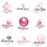 Vector embryo and newborn emblems set isolated on white. New life beginning drawings. Prenatal center and motherhood preparing cl. Inic abstract emblems royalty free illustration