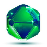 Vector emerald 3d geometrical art sparkling object, radiance smo Royalty Free Stock Image