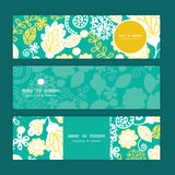 Vector emerald flowerals horizontal banners set Stock Image