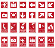 Vector emergency exit signs set on red background. Red safety sign. Vector emergency exit signs set on red background Royalty Free Stock Photo