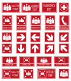 Vector emergency exit signs set on red background. Red safety sign. Vector emergency exit signs set on red background Royalty Free Stock Image
