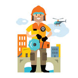 Vector Emergency rescue service. Flat style colorful Cartoon illustration. Rescuer with a tool on the background of the city. Isolated on a white Royalty Free Stock Photos