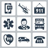 Vector emergency service icons set Royalty Free Stock Photography