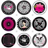 Vector Emo drink coasters Stock Images