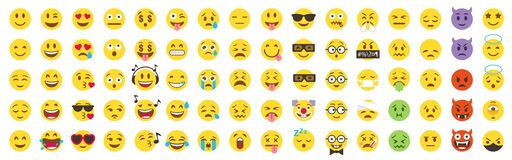 Vector Emoticon Big Set. Emoji pack.