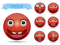 Vector emoticon smiley. Isolated, Funny Red circle glossy emoticon smiley Stock Photography