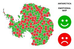 Vector Emotional Antarctica Map Composition of Smileys. Emotion Antarctica map composition of emojis in green and red colors. Positive and negative mood vector vector illustration