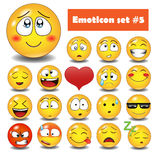 Vector emotionele gezichtspictogrammen Stock Foto