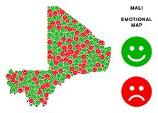 Vector Emotionele Mali Map Mosaic van Smileys Vector Illustratie