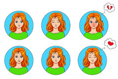 Vector emotions set of 6 girls avatars isolated on white Stock Image