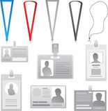 Vector Employee cards collection lanyards with different colors ribbons Stock Photography