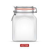 Vector empty Bale Square Glass Jar with Swing Top Lid isolated over the white background Royalty Free Stock Image