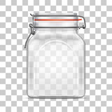 Vector empty Bale Square Glass Jar with Swing Top Lid  isolated on transparent background Stock Photography