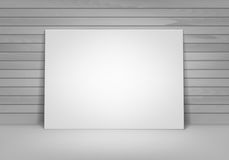 Vector Empty Blank White Mock Up Poster Picture Frame Standing on Floor with Wall Front View Royalty Free Stock Image