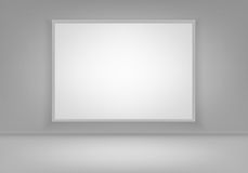 Vector Empty Blank White Poster Picture Frame on Wall with Floor Front View. Vector Empty Blank White Mock Up Poster Picture Frame on Wall with Floor Front View Stock Photos