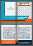 Vector empty brochure template design with blue and orange eleme Royalty Free Stock Photography