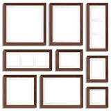 Vector empty frames of wenge wood in various formats. Stock Images