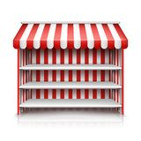 Vector empty market stall with shelves and awning stock illustration