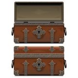 Vector Empty Old Pirate Forged Chest vector illustration