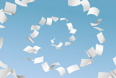 Vector empty papers flying in spiral on blue sky background - pa. Perwork, office documents Royalty Free Stock Photos