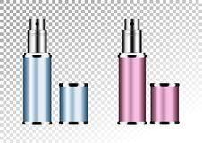 Vector empty pink and blue package for cosmetic products tube and perfume flacon, bottle for deodorant, hair spray. Realistic metallic container. Mock up Royalty Free Stock Photography
