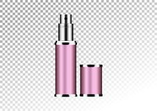 Vector empty pink package for cosmetic products tube and perfume flacon, bottle for deodorant, hair spray. Realistic mockup of met. Vector empty pink package for Royalty Free Stock Photos
