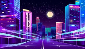 Free Vector Empty Road In Megapolis At Night Royalty Free Stock Photography - 130754597