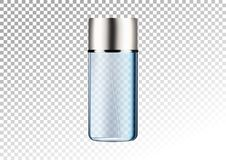 Vector empty transparent blue package for cosmetic products tube and perfume flacon, bottle for deodorant, hair spray. Realistic m. Ockup of glass container Royalty Free Stock Images