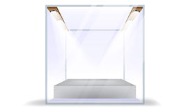 Vector Empty Transparent Glass Box Cube Isolated on White Background Royalty Free Stock Image