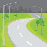 Vector en blanco de la historieta del diseño del fondo del camino Fotografía de archivo