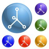 Vector en enlace iónico del sistema de los iconos ilustración del vector