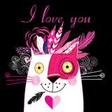 Vector en gato del amor Foto de archivo